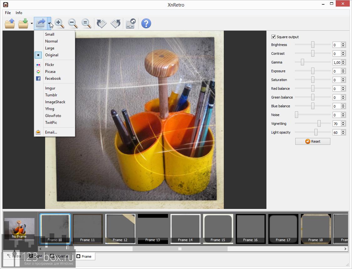 XnRetro - портабельная программа для добавления к фотографиям эффектов и рамок с возможностью отправки в социальные сервисы (1)