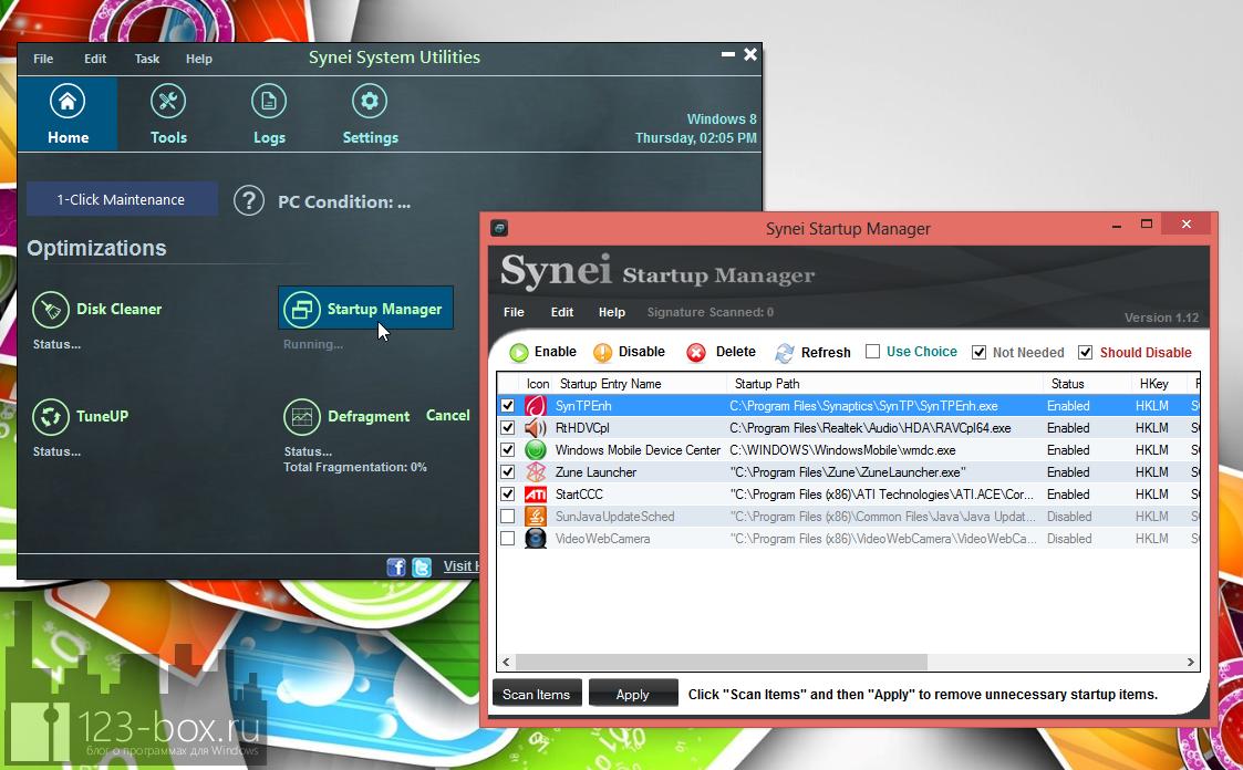 Synei System Utilities - портабельный комплекс утилит для оптимизации системы одним кликом (7)