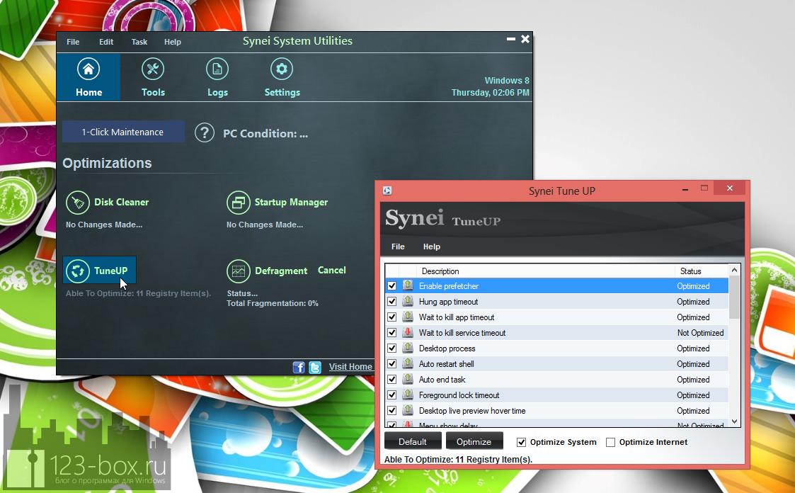 Synei System Utilities - портабельный комплекс утилит для оптимизации системы одним кликом (5)