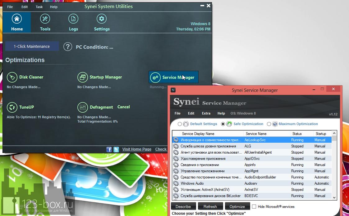 Synei System Utilities - портабельный комплекс утилит для оптимизации системы одним кликом (3)