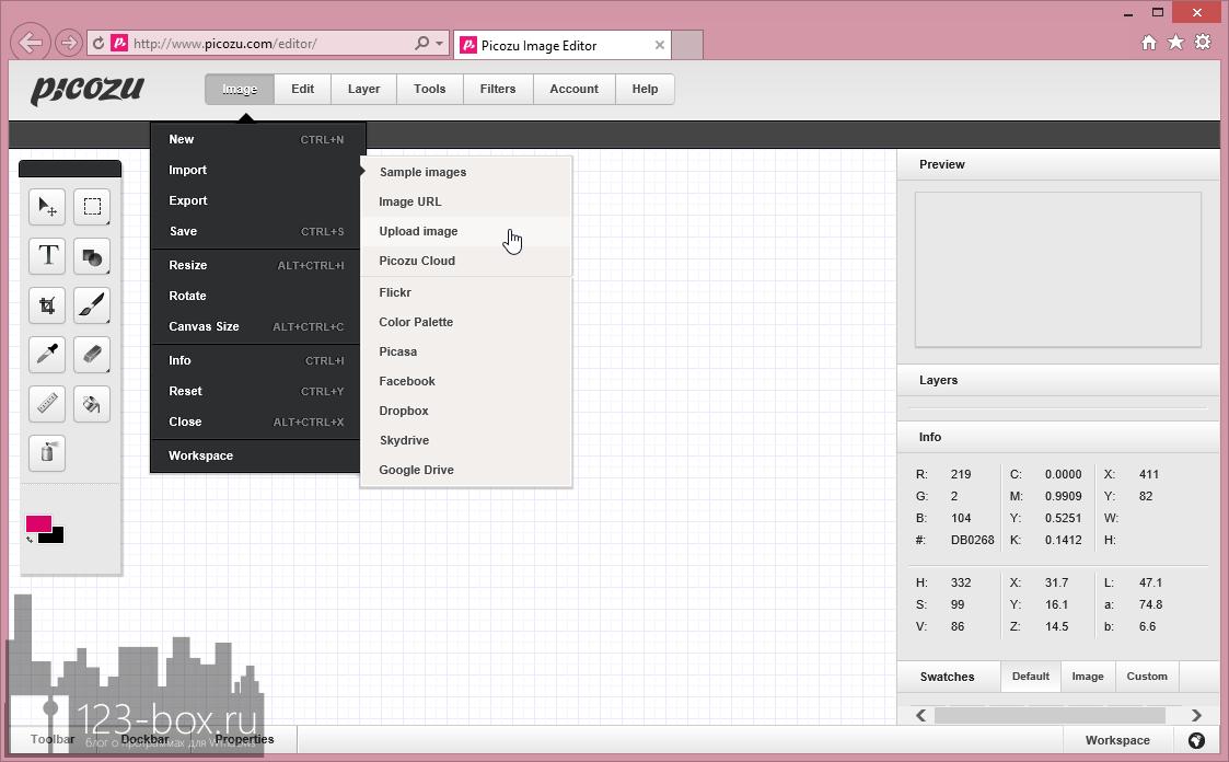 Picozu - удобный онлайновый редактор с работой со слоями, большим набором фильтров и импортом из социальных сетей и фотохостингов (6)