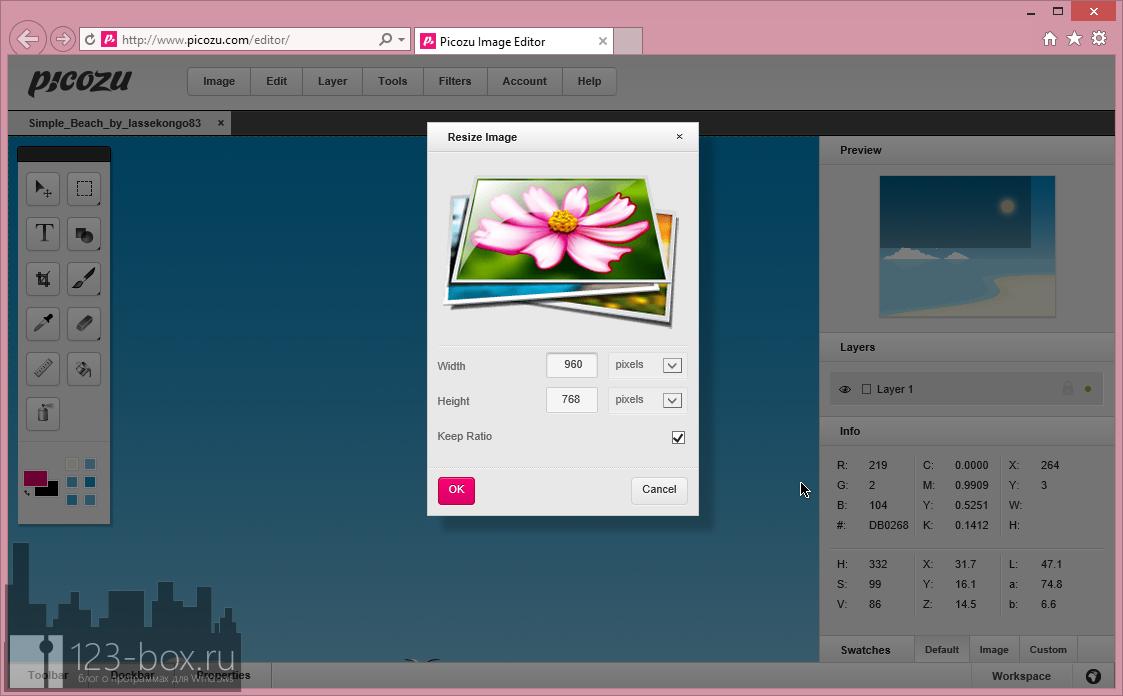 Picozu - удобный онлайновый редактор с работой со слоями, большим набором фильтров и импортом из социальных сетей и фотохостингов (4)