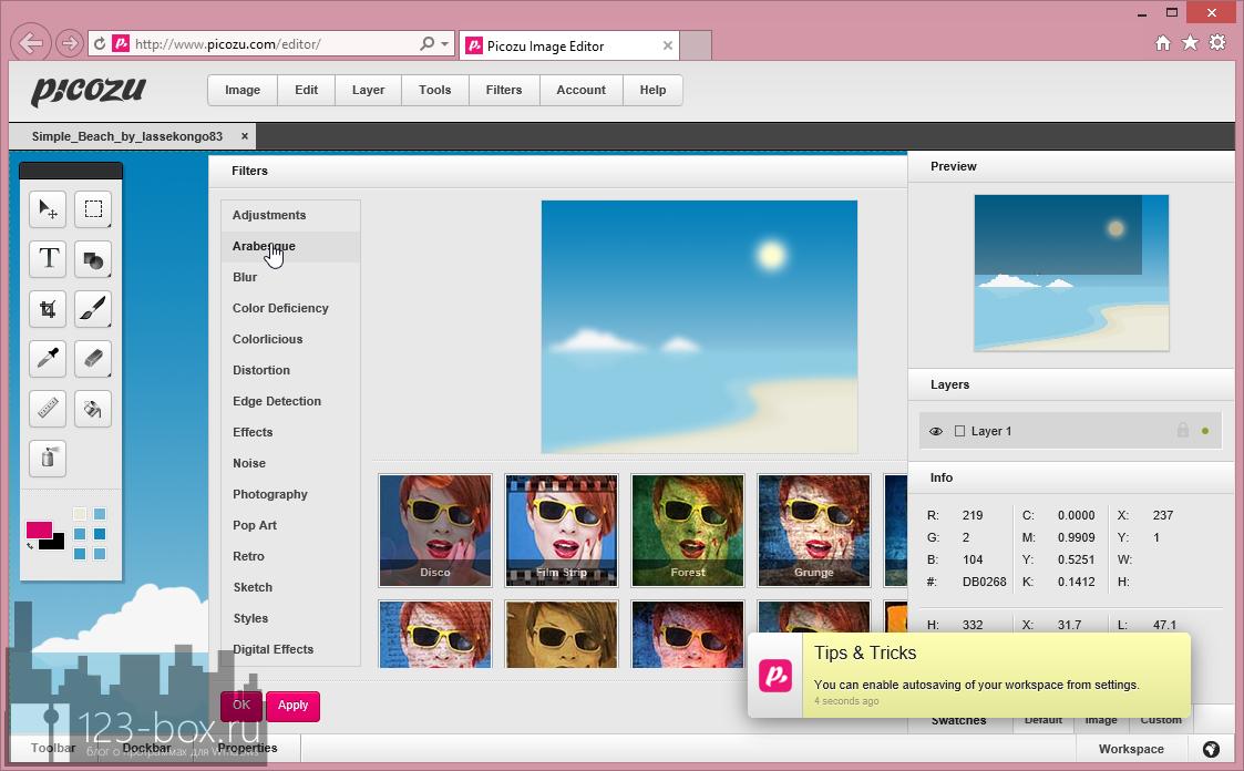Picozu - удобный онлайновый редактор с работой со слоями, большим набором фильтров и импортом из социальных сетей и фотохостингов (3)
