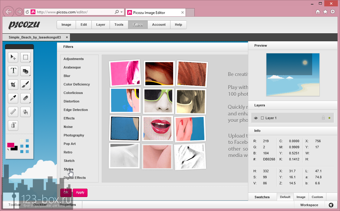 Picozu — удобный онлайновый редактор с работой со слоями, большим набором фильтров и импортом из социальных сетей и фотохостингов