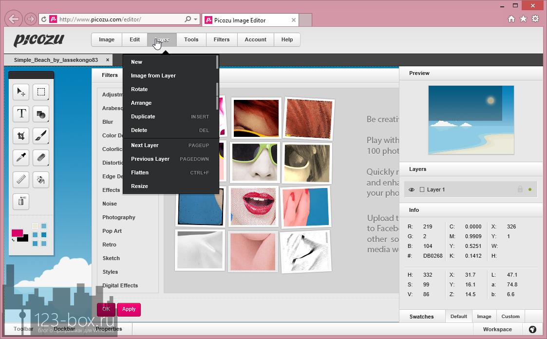 Picozu - удобный онлайновый редактор с работой со слоями, большим набором фильтров и импортом из социальных сетей и фотохостингов (1)