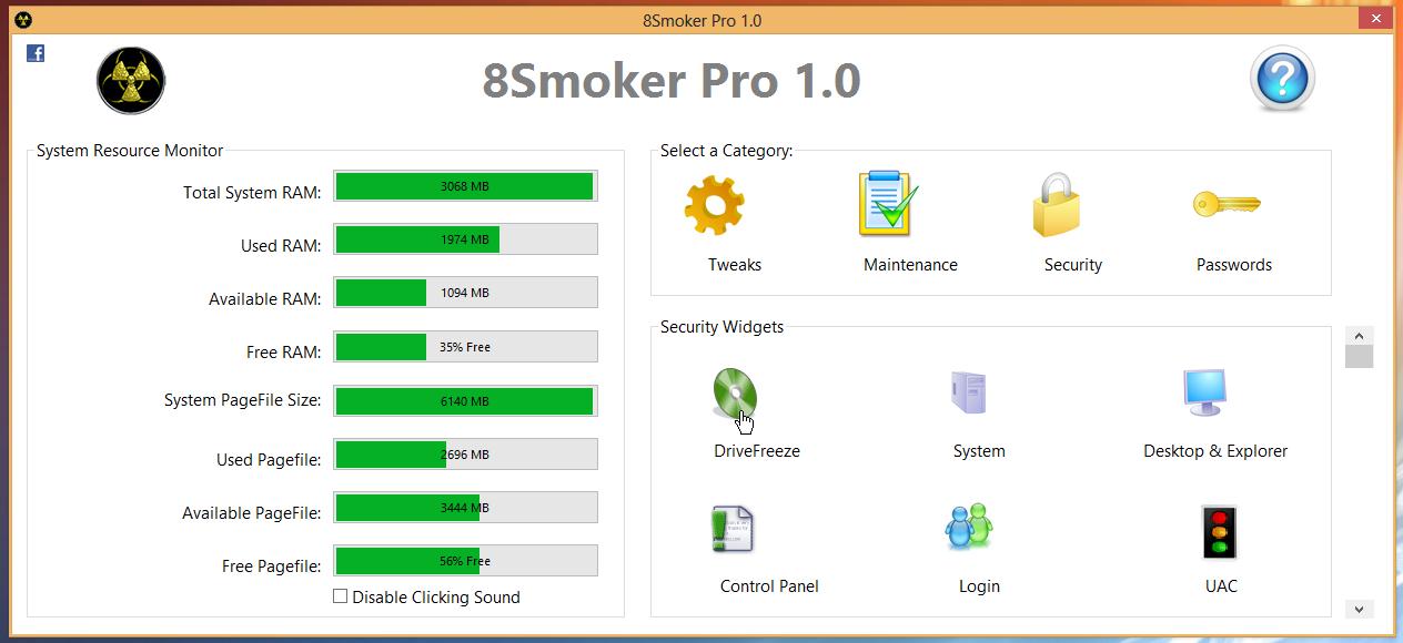 8Smoker Pro - универсальная утилита для настройки параметров Windows 8, оптимизации, мониторинга и поддержания работоспособности (13)