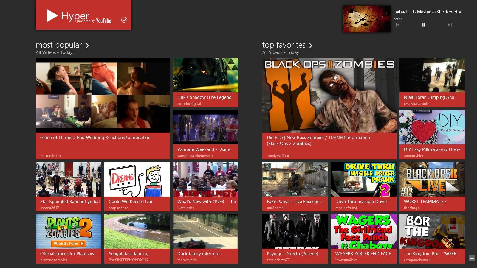 Hyper - удобная Modern UI программа для просмотра видео из YouTube (2)
