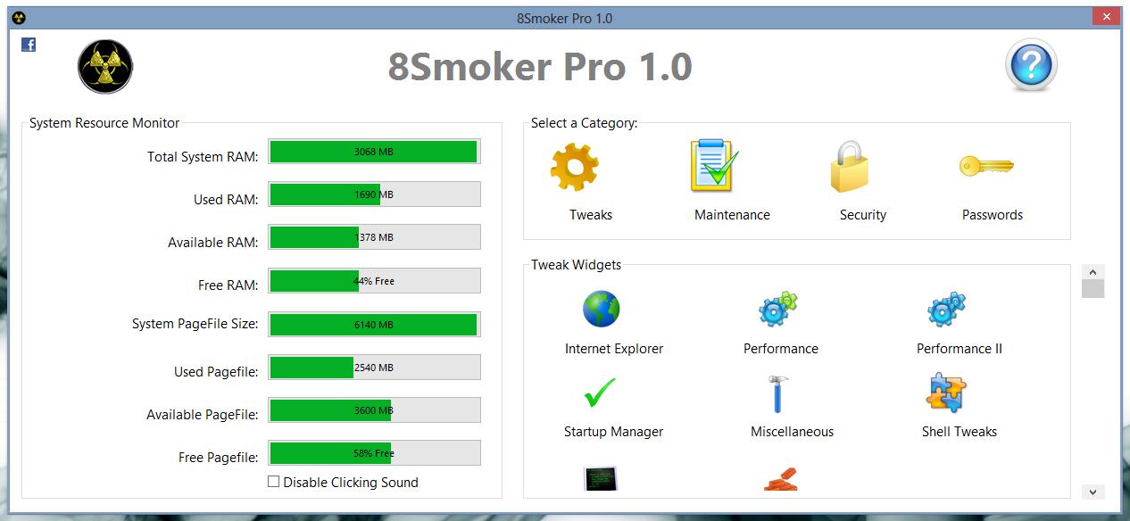8Smoker Pro - универсальная утилита для настройки параметров Windows 8, оптимизации, мониторинга и поддержания работоспособности (4)