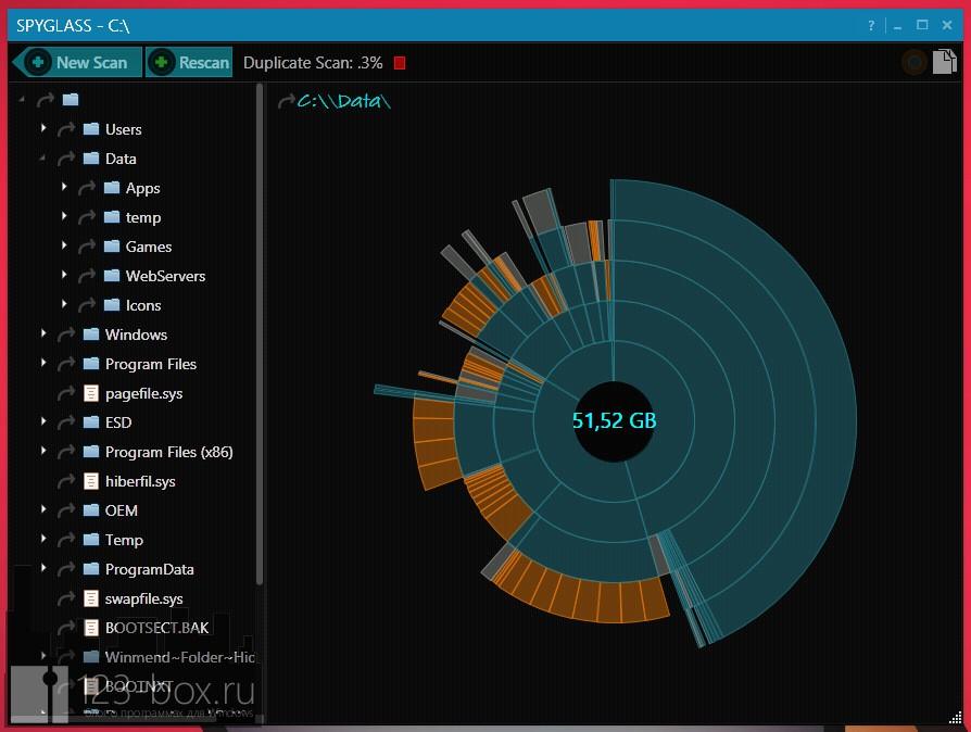 Spyglass — красивая программа для определения места, занимаемого файлами, и поиска дубликатов