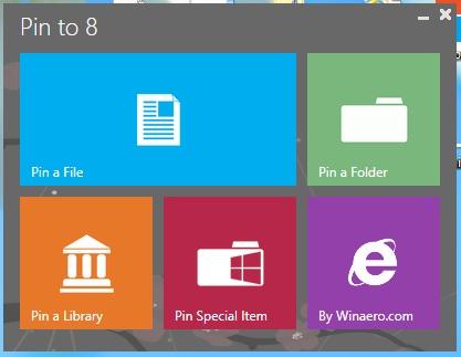 Pin to 8 — портабельная программа для добавления любых файлов и папок на экран Пуск и Панель задач