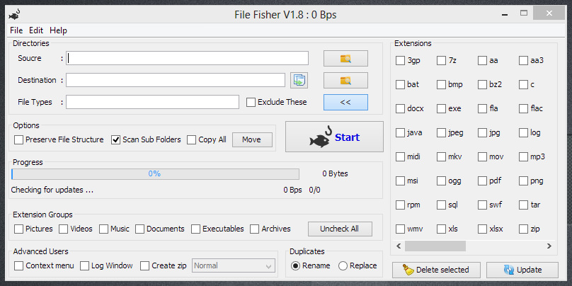 File Fisher — портабельная программа для упорядочивания файлов по их типу