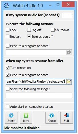 Watch 4 Idle — программа, автоматизрующая выключение компьютера при простоях