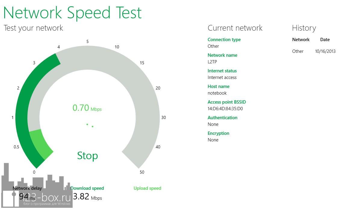 Network Speed Test — программа для проверки скорости сетевого соединения в Windows 8