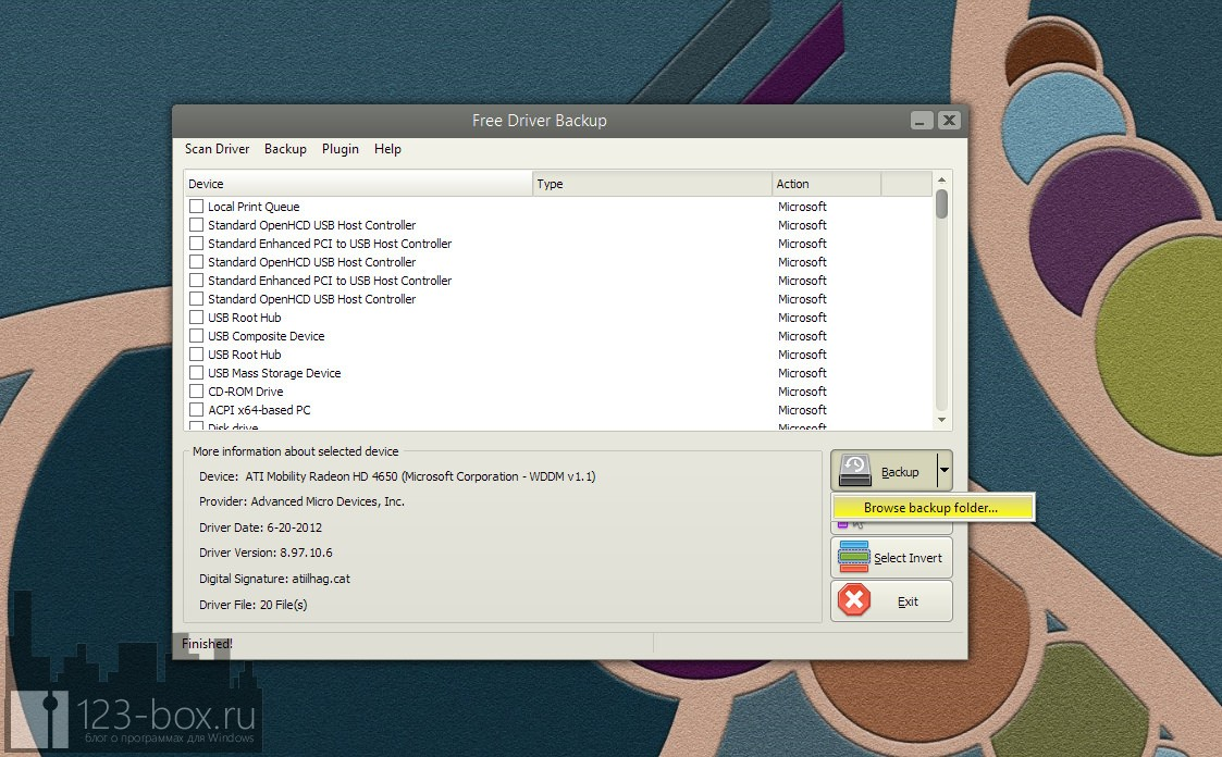 Free Driver Backup — программа для сохранения всех драйверов, установленных в Windows