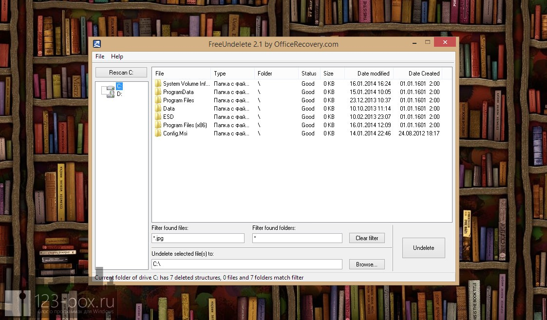 FreeUndelete — портабельная программа для восстановления удаленных файлов