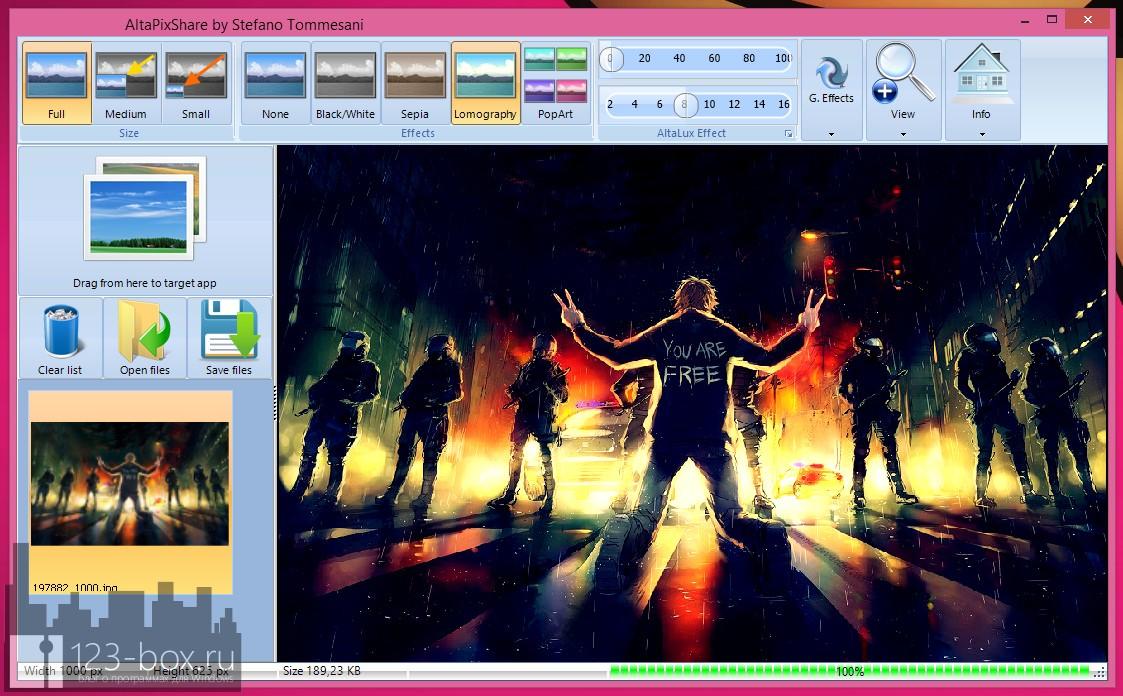 AltaPixShare — простая программа для добавления эффектов к фотографиям