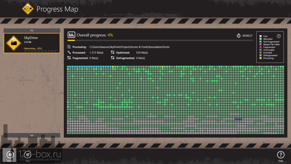Auslogics Disk Defrag Touch — полноэкранный дефрагментатор для Windows 8