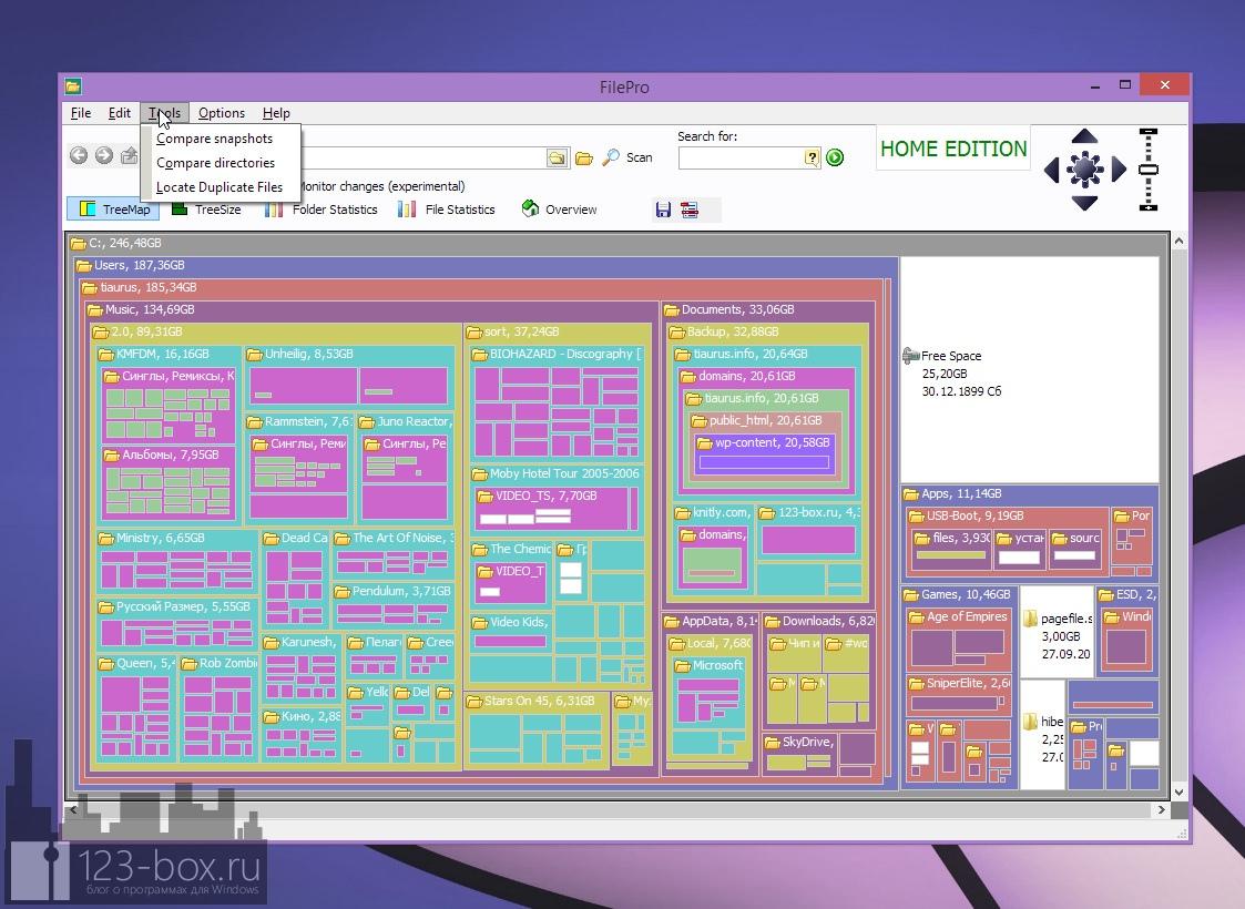 FilePro — программа для построения структурированной карты логического диска