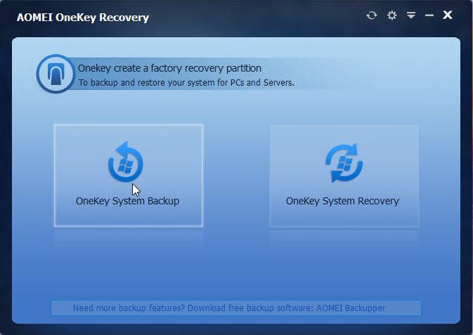 AOMEI OneKey Recovery — утилита для создания системы восстановления операционной системы