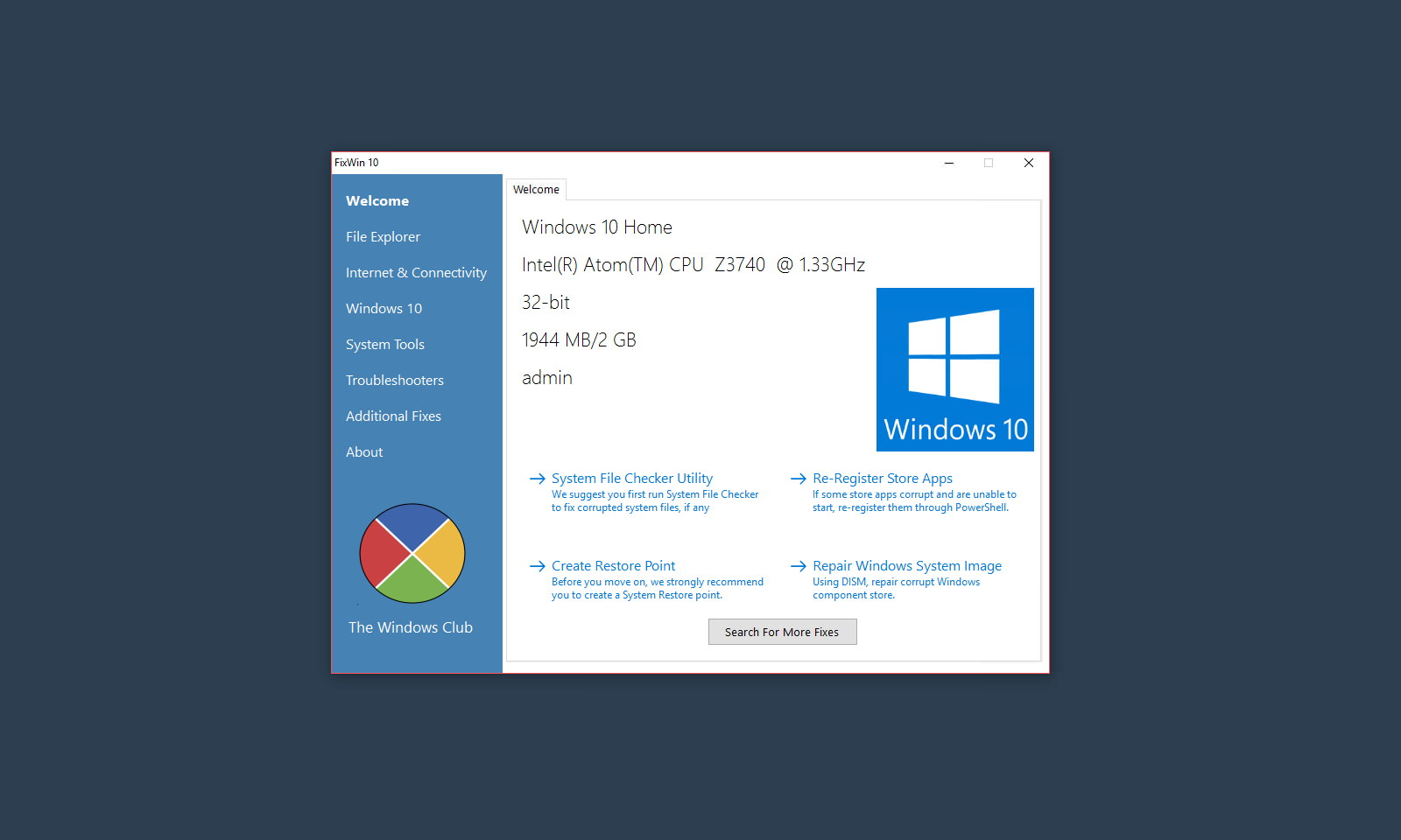 FixWin for Windows 10 — портабельная утилита для устранения неисправностей Windows 10